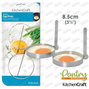 Kitchen Craft Stainless Steel Foldable Round Egg Rings Egg Shaper Ring -Set of 2