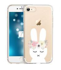 Coque Iphone 6 6S lapin fleur rabbit cute kawaii transparente