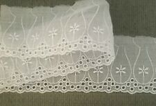 White Sheer Poly/Cotton Eyelet Lace Trim 2 1/2 Inch Wide 5 Yards