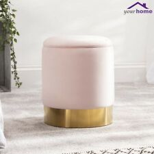 Your Home Velvet Fabric Ottoman Footstool Furniture Seat Pouffe Storage Box