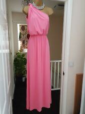 ASOS Dress Candy Pink Stretch Jersey One Shoulder Maxi/Full Length Size 8-10 UK