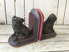 Pug Dog Bookends Black and Pink Stone? Hard Plastic?