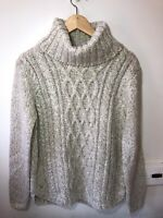 Joules X Cabell chunky knit oatmeal cabel roll neck jumper 10 BNWT wool alpaca