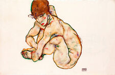 Crouching Nude Girl by Egon Schiele A1 High Quality Art Print