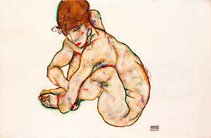 Crouching Nude Girl by Egon Schiele A1 High Quality Art Print