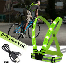 Bicycle Accessories Bright Unisex Outdoor Cycling Safety Vest Bike Ribbon Bicycle Light Reflecing Elastic Harness For Night Riding Running Jogging