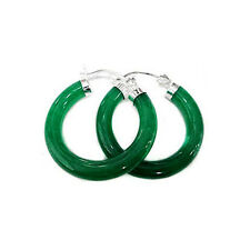 Wholesale Green Jade hoop 925 Silver fashion drop earring 1pair for lady