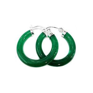 Green Jade hoop Earring 925 Silver fashion drop earring 1pair for lady