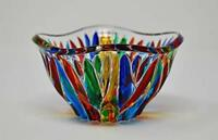 Murano Glass Fire Bowl - Hand Painted Bowl Made in Italy