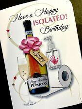Personalised Handmade 'Virus Isolation Prosecco / Humour' Birthday Card