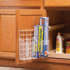 Wrap Rack Organizer Storage Foil Film Holder Kitchen Cabinet Door Wall Mounted