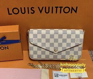 ❤️NEW LOUIS VUITTON Damier Azur Pochette Felicie Crossbody Chain Bag 🔥RARE GIFT