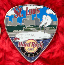 Hard Rock Cafe Pin ST. LOUIS Postcard GUITAR PICK Series Skyline RIVER BOAT logo