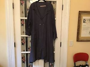 cynthia ashby  duster jacket blue linen  Large
