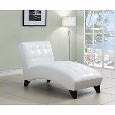 White Chaise Lounge Chair Upholstered Modern Daybed Faux Leather Sleeper Sofa