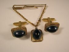 Gorgeous Blue Stone Hickok Quality Vintage Cuff Links & Tie Clip set gift