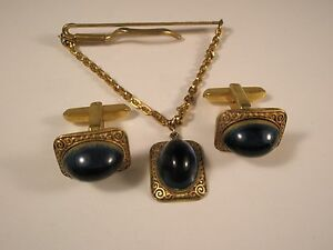 -Gorgeous Blue Stone HICKOK Quality Vintage Cuff Links & Tie Clip set gift