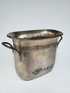 Vintage Champagne Bottle Ice Bucket Silver Plate Liquor Serving Caddy Barware !!