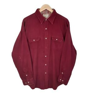 Classic Red Long Sleeve Oversize Retro Corduroy Cord Shirt Size XL