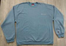 Vintage Champion Small Script Logo Crew Neck Sweatshirt Size XL Light Blue