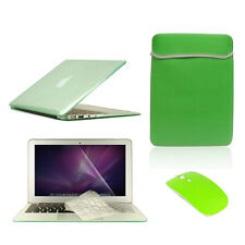 """5 in1 Crystal GREEN Case for Macbook Air 11"""" + Key Cover + LCD Screen+ Bag+Mouse"""