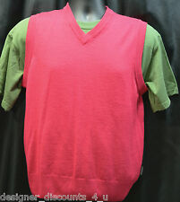 New Oscar Jacobson Boyle Designer Golf Sleeveless fine Merino Wool vest top Sz M
