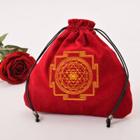 Vintage Wicca Pagan Drawstring Tarot Cards Bag Red Tarot Pouch Bag Case