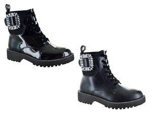 Ladies Chelsea Boots Designer Diamante Studded Combat Biker Jewel Encrusted C212