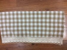 VALANCE GINGHAM CHECK TAN WHITE CROCHET ACCENT 56X14.5 COUNTRY COTTAGE FUN!