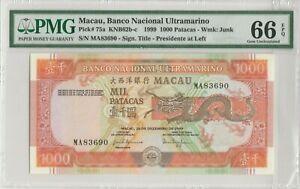 RARE 1999 Special Issued  Macao Banco Nacional Ultramarino 1000 Pats PMG 66 EPQ