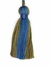 "Trimland Collection 3308 1526 COLONIAL BLUE Beige Decorative 3 1/2"" Key Tassel"