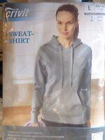 Damen Sweat Shirt * L 44/46 * Grau * Kapuze / Tasche * Crivit * OVP