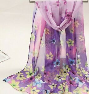 Lilac Blue Blended Flowers Print Lady Women Face Cover Wrap Silk Chiffon Scarf