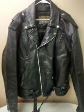 NICE UNIK Mens Black Leather Motorcycle Biker Jacket With Patches Size 52