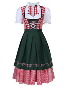 German Traditional Dirndl Dress Oktoberfest Bavarian Beer Girl Costume