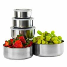 Stainless Steel Food Bowl Lid Home Kitchen House Cooking Eco-Friendly Solid 5pcs