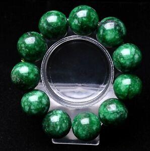 20mm Natural Nephrite Green Jadeite Jade Gemstone Round Bead Bracelet AAA