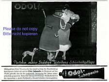 Toothpaste Odol German ad 1920 liftboy porter department store lady dog fur +