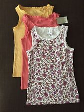 Next Girls Set Of 3 Vests Girls Summer Tops Floral Vest Coral Top 7 Years
