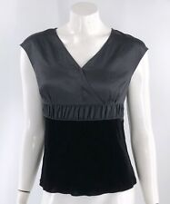 Talbots Top Size 6 Black Silk Velvet Cap Sleeve Blouse V Neck Mixed Media Womens
