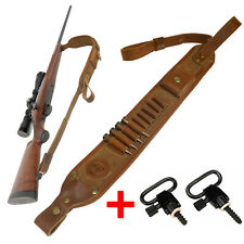 Leather Rifle Gun Sling Carry Strap Ammo Cartridge Shell Holder Straps Handle