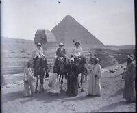 EGYPTE Le Caire Sphinx Pyramides Gizeh Archéologie NEGATIF Photo Stereo Plaque