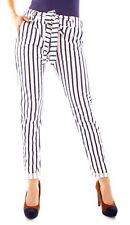 Damen Sommer Jersey Hose Chino Pants Sommerhose Creme Blau Gestreift 34 36 38