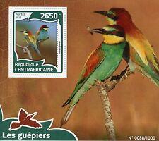 República Centroafricana 2016 estampillada sin montar o nunca montada Abeja de escualos 1v S/S aves Europea Bee-eater