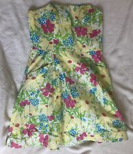 Lilly Pulitzer Dress A Line Tube Top Dress Yellow Flowers Size 6