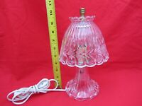 VTG SMALL CLEAR PRESSED CUT GLASS BOUDOIR ELECTRIC TABLE LAMP LIGHT NIGHT STAND