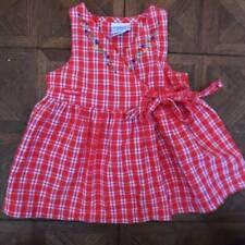 Vintage Girls Baby B'Gosh Osh Kosh Red Check Embroidered Dress 12 Months Usa