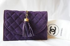 VINTAGE CHANEL Purple Suede Leather Quilted Stitch Clutch Bag w/ CC Fringe A151