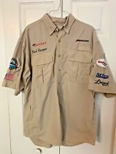 Bimini Bay Tan Button  Large Fishing Short Sleeve Men's Shirt TEAM DONZI