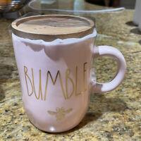Rae Dunn - BUMBLE BEE w/ coaster - PINK Ceramic Coffee